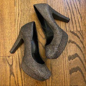 3for$15 Gianni Bini Glitter Heels Pewter